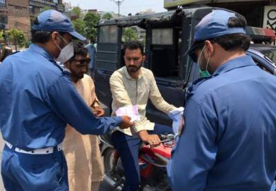 Challan for not wearing mask in Lahore