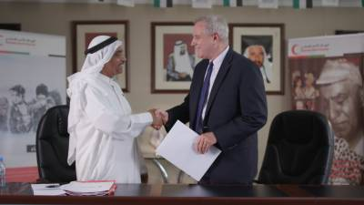 EWINGS the managing operator of Emirates Loto donates AED50,000 to Emirates Red Crescent to support Beirut blast victims