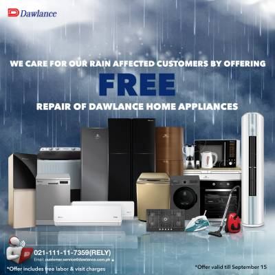 Dawlance offers Free-Service to rain-affected customers across Pakistan.