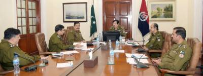 A meeting chaired by IG Punjab Inam Ghani on ending the menace of drug trafficking