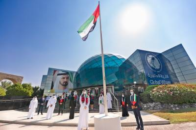 Global Village joins the nationwide celebrations by raising the Emirati flag on UAE Flag Day 2020