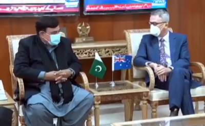 Interior Minister Sheikh Rasheed Ahmed in a meeting with the Australian High Commissioner