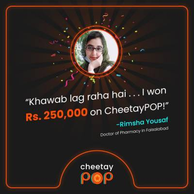 'I won!': Pharm. D. student clinches Rs. 2.5 lakh on CheetayPOP, Pakistan's largest live game show app